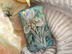 Stunning Sage Green Iris  Fused Glass Pendant  by ccvalenzo, #cgge