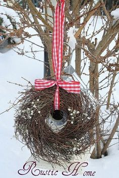 twiggy wreath, snowberries and red gingham..for the birds...