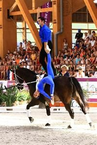 Blake Dahlgren with Megan Benjamin at the 2012 FEI World Vaulting Championship competing in the Pas de Deux Championship (www.barny-th.de)
