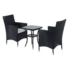 Premium Quality Rattan 2 Seater Bistro Set - Cushions Included - 0.5 Tempered Glass Top Table