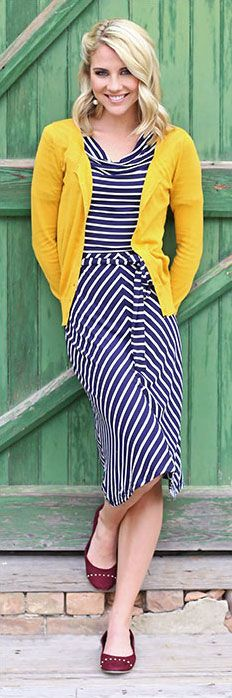 Modest Knit Dress in Navy/White Stripes