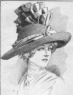 1912 straw hat  *big a** pleating on top*