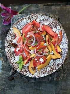 Shabbat Menu featuring market fruits and vegetables.