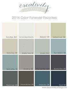 Favorite colors and recap from the 2016 color forecasts from the paint companies. Sherwin Williams, Behr and Dunn Edwards. The Creativity Exchange