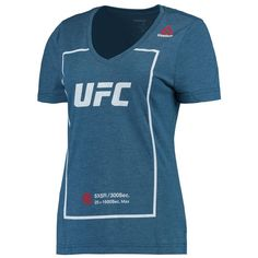 UFC Reebok Women's V-Neck Tri-Blend T-Shirt - Blue