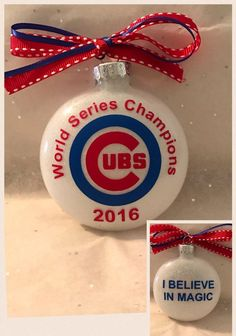 Chicago Cubs World Series Champion ornament by SRMemorableDesigns Christmas Is Coming, Little Christmas, Christmas Bulbs, Christmas Crafts For Gifts, Craft Gifts, Christmas Decorations, Vinyl Ornaments, Chicago Cubs World Series, Cubs Team