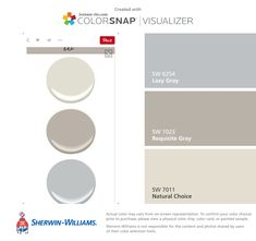 I found these colors with ColorSnap® Visualizer for iPhone by Sherwin-Williams: Lazy Gray (SW 6254), Requisite Gray (SW 7023), Natural Choice (SW 7011).