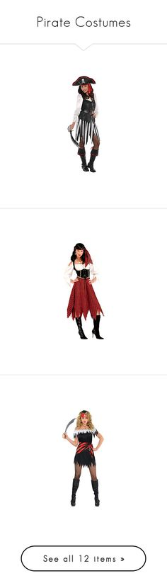 """""""Pirate Costumes"""" by itsablingthing ❤ liked on Polyvore featuring costumes, adult pirate costumes, sexy costumes, sexy adult halloween costumes, sexy adult costumes, pirate costume, womens pirate costume, ladies costumes, red pirate costume and red costume"""