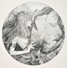 Song of the Sea - original pencil drawing by Ed Org