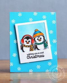 Sunny Studio: Bundled Up Penguin Cool Christmas Card with Marion...