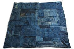 Japanese Boro Futon Cover - Beautiful Antique Handwoven Indigo Aizome Dyed Cotton Folk Textile, Japanese Indigo Blue Boro Patched Art Quilt by KominkaFabricsJapan on Etsy https://www.etsy.com/listing/251981871/japanese-boro-futon-cover-beautiful