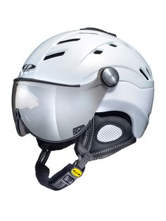 The CP #Camurai Pearl #White Shiny #ski #helmet with built in visor so you don't need #goggles.