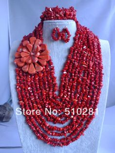 free shipping !!! Z-794 Fashion Luxury African Wedding Coral Beads Jewelry Set New Design $94.66