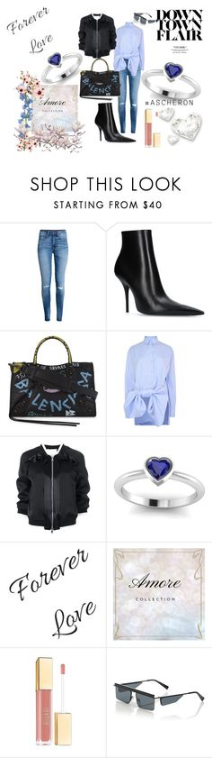 """""""Sapphire Amore Ring...down town"""" by ascheron-jewels ❤ liked on Polyvore featuring H&M, Balenciaga, Victoria, Victoria Beckham, 3.1 Phillip Lim and Le Specs"""