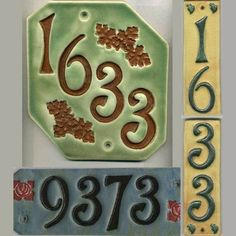 Handcrafted Four Digit Ceramic House Number Tile Address Plaque Craftsman Style Pottery Houses, Ceramic Houses, Slab Pottery, Ceramic Pottery, Clay Tiles, Ceramic Clay, Address Plaque, Address Numbers, Address Signs