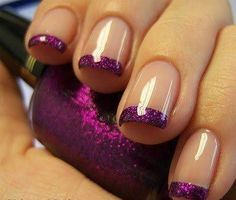 Purple glitter nail tips