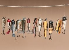 Replica Antique Fishing Lure Christmas Ornaments -12 piece