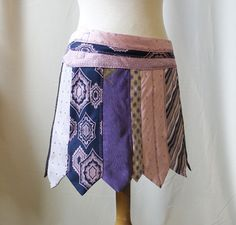 """Miniskirt """"necktie"""" , size XS/S, upcycled, sustainable, Solmode, ties"""