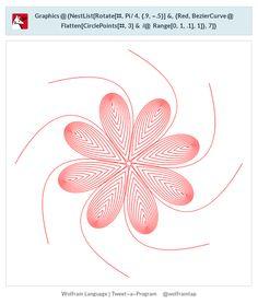 Graphics@{NestList[Rotate[#,Pi/4,{.9,-.5}]&,{Red,BezierCurve@Flatten[CirclePoints[#,3]& /@ Range[0,1,.1],1]},7]}