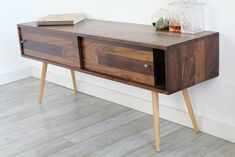 Mid Century Solid Walnut T.V. Stand With Sliding Doors - JeremiahCollection - 1
