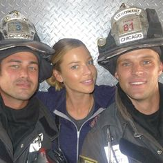 Taylor Kinney, Lauren German, and Jesse Spencer. CHICAGO FIRE.