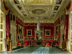 Inside the Satin Drawing Room at Carlton House, London