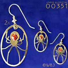 Spider with Crystal Earrings at Wildbird Jewelry.com