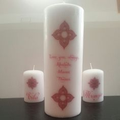 Back view... Personalized Candles, Pillar Candles, Candles
