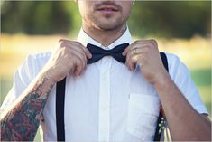Ugh @ Shabby Chic (gross), but mmmm at this groom attire. I hate tuxedos. I also hate short-sleeved button ups on dudes, so those will have to be long sleeve. But I <3 suspenders.