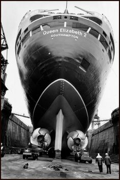 """Bruce Davidson, 1996.  Southampton. The """"Queen Elizabeth 2"""" in dry dock for maintenance."""