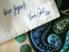 ARTIST a little bit of just because  TITLE Dream Fragments Signature    'Signed' in stitch on the back.    Funnily enough I have had the name for this piece in mind for a while, then did a google search on the phrase last night and discovered another piece of art using that name right here on Flickr. Small world!