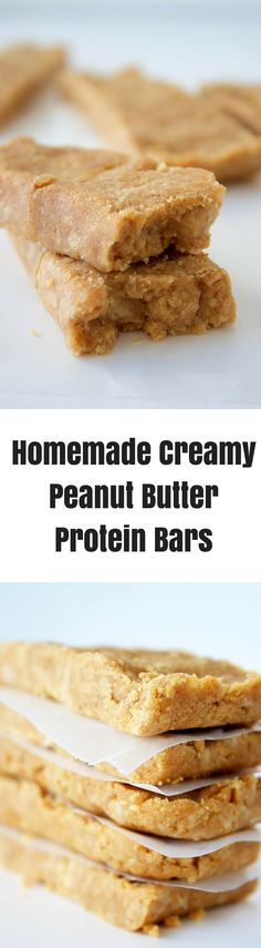 Homemade Creamy Peanut Butter Protein Bars