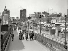 The Brooklyn Bridge Promenade and Manhattan Terminal in 1907. LOVE the signs