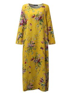 Ethnic Floral Printed Long Sleeve Scoop Neck Maxi Dress For Women at Banggood