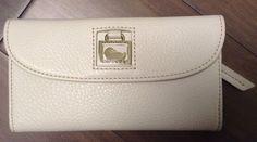 NWT Dooney & Bourke White Leather Dillen 2 Contiental Trifold Clutch Wallet #DooneyBourke #Clutch