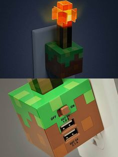 Minecraft walloutlet nightlight with 2 USB charging ports