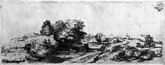 drawpaintprint:  Rembrandt: Landscape with a Milkman (1650) Etching