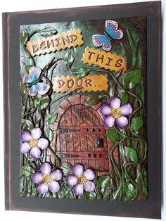 Behind This Door' Polymer Clay Covered Art Journal, Sketchbook