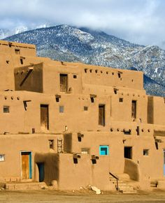 Taos New Mexico. The Pueblo. It is approximately 1000 years old and lies about 1 mile north of the modern city of Taos, New Mexico, USA. They are considered to be one of the oldest continuously inhabited communities in the United States. New Mexico Usa, Travel New Mexico, Taos New Mexico, Honeymoon Spots, Vacation Spots, Arizona, Taos Pueblo, Pueblo Tribe, Visit Santa