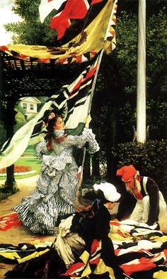 Still on Top (c. 1874), by James Tissot. Oil on canvas, 88 by 53 cm. (34.65 by 20.87 in.) Auckland Art Gallery Toi o Tāmaki, New Zealand.