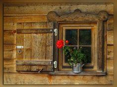 Board and Batten window shutters Chalet Design, Gazebos, Log Cabin Homes, Log Cabins, Little Cabin, Window Shutters, Cozy Cabin, Cabins In The Woods, Windows And Doors