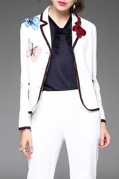 Reelop White Butterfly Embroidered Blazer | Blazers at DEZZAL