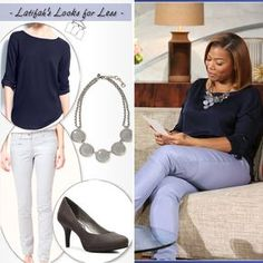 196139fc06c Plus size. See more. Queen Latifah s Looks for Less Ann Taylor crepe roll  sleeve top in dark sky