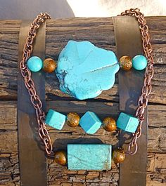 Modern Chunky Authentic Turquoise & Copper Necklace by FunNFiber