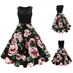 d9193ddcf80 Women Sleeveless Floral Print Vintage Dress High-Waist Pleated Party  Evening Long Dress Women Ladies Maxi Dresses vestido