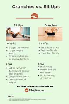 Don't you know what the difference between sit ups and crunches is? We compare the two ab exercises, so you'll know which is more suitable for you. Crunch Challenge, 30 Day Challenge, Compound Exercises, Ab Exercises, Sit Up Crunch, Fitness Tips, Fitness Motivation, Neck Problems, Back Injury