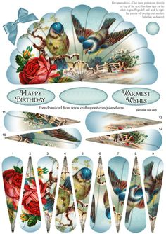 - This lovely fan has decoupage fan elements that overlap one another to create a beautiful image of bluebirds and roses again. 3d Paper Crafts, Paper Crafting, 3d Templates, Decoupage Printables, Paper Fans, 3d Cards, 3d Prints, Decoupage Paper, Printable Paper