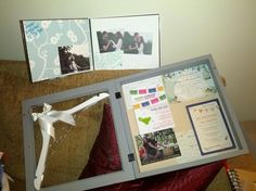Bridal shower gifts: DIY wedding shadow box, DIY engagement picture photo book, and personalized hanger