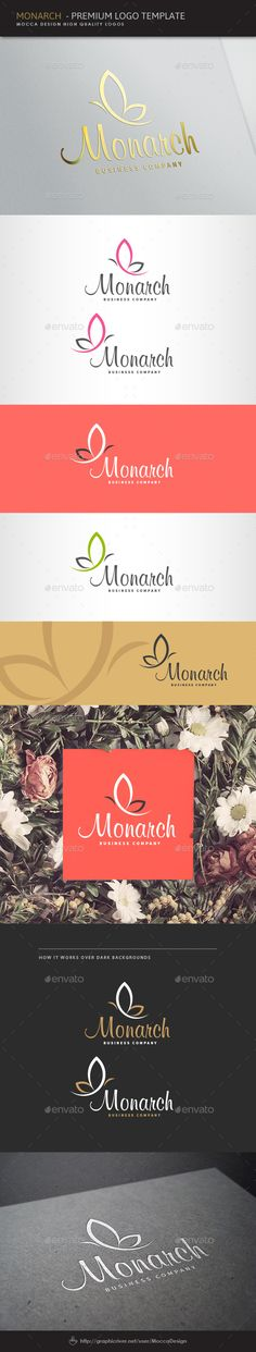 Monarch Logo — Vector EPS #elegant insect #flower • Available here → https://graphicriver.net/item/monarch-logo/8524630?ref=pxcr