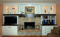 Stone was installed directly over brick and the wall wired for the TV. Description from pinterest.com. I searched for this on bing.com/images
